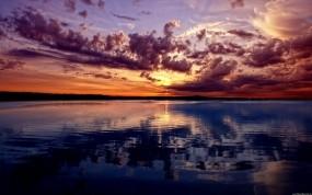 Обои Закат над рекой: Река, Закат, Небо, Вода и небо