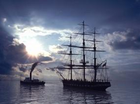 Обои буксир парусника: Море, Парусник, Корабли, Корабли