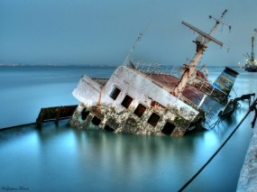 Обои Затонувший корабль: Корабль, Авария, Корабли