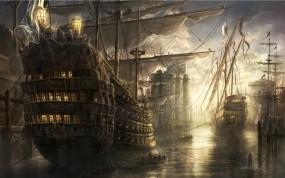 Обои Корабли на восходе: Море, Восход, Корабли, Корабли