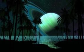Обои Зелёный Сатурн: Деревья, Море, Космос, Берег, Планета, Корабли