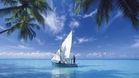 Обои Парусник: Море, Парусник, Небо, Лодка, парус, Корабли