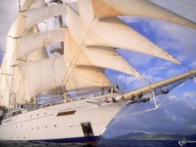 Обои Корабль с большими парусами: Корабль, Паруса, Клипер, Корабли