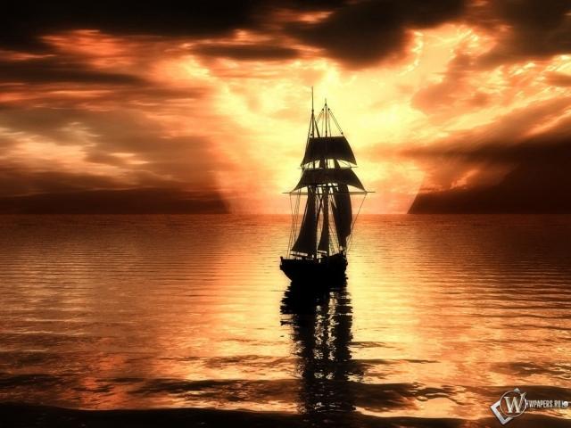 Корабль в лучах заката