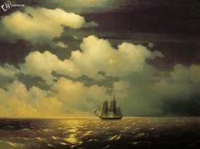 Обои Кораблик в стиле Айвазовского: , Корабли