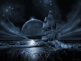 Обои Вставший на мель: Луна, Корабль, Забытый, Корабли