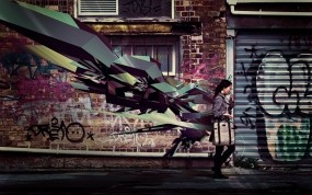 Обои 3D-граффити: Стена, Фантазия, Стиль, Граффити, Города, 3D Графика