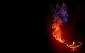 Обои Волшебная лампа: Огонь, Дым, Лампа, 3D Графика