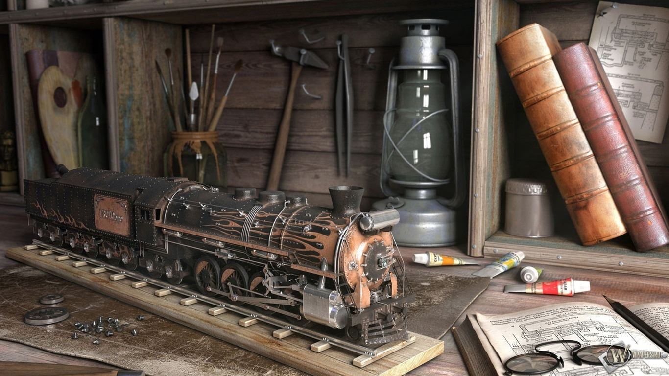 Модель паровоза 1366x768
