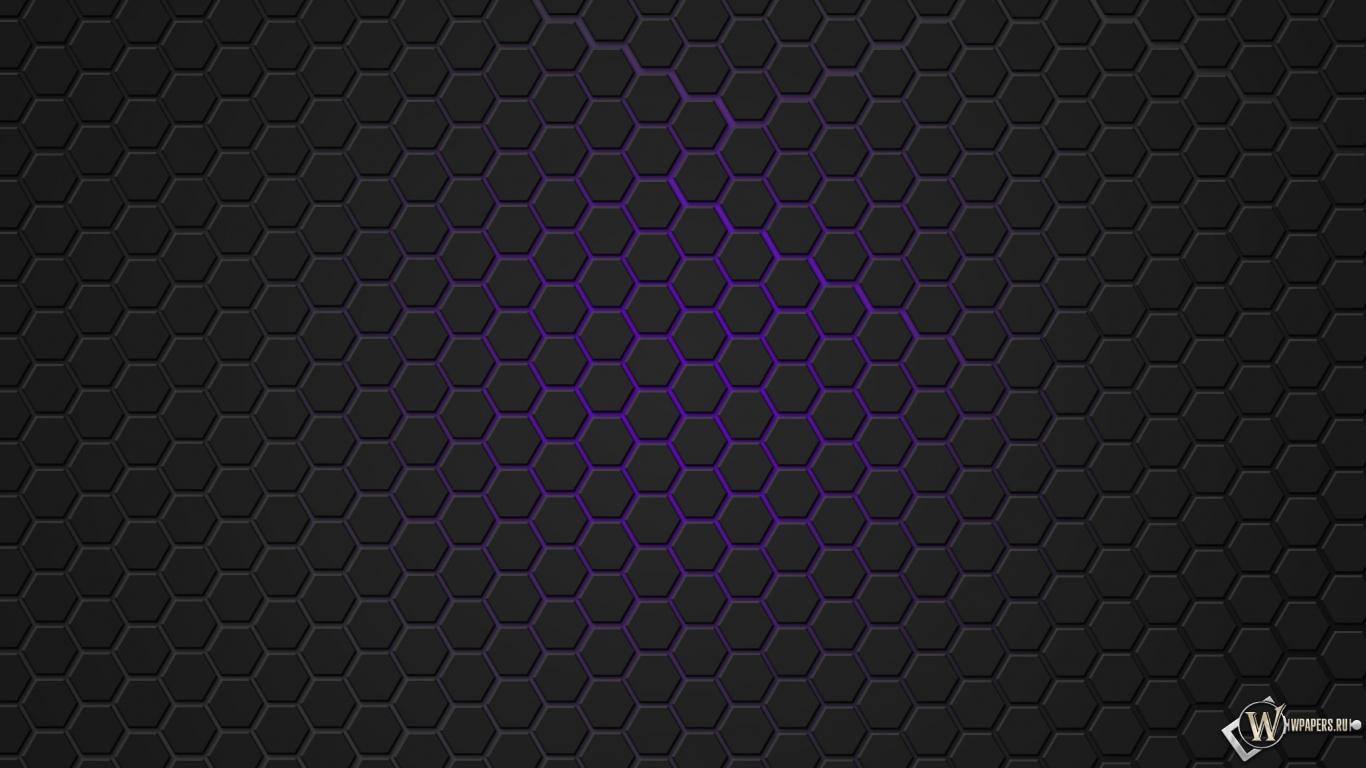 Фиолетовая гексагональная решётка 1366x768