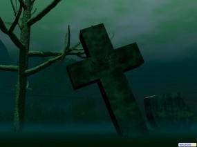 Обои Крест: Мрак, Крест, Кладбище, Рендеринг