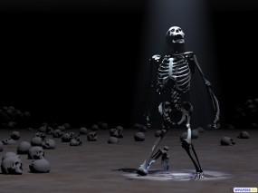 Обои Скелет: Свет, Темница, Скелет, 3D Графика