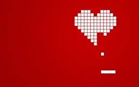 Обои Сердце из кубиков: Сердце, Кубики, Красный, Абстракции