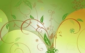 Обои Зелёные листья: Зелень, Вектор, Листья, Узор, Абстракции