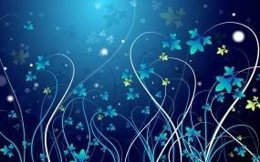 Обои Синие заросли: Цветы, Листья, Узор, Абстракции