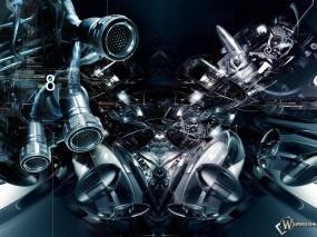 Обои 3D Абсракция: Турбина, Аппарат, Двигатель, Механизм, Абстракции