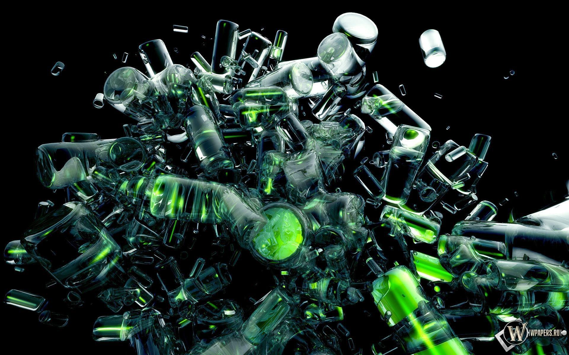 Зеленые цилиндры 1920x1200