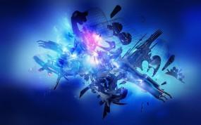 Обои Синяя сетка: Синий, Сетка, Абстракции