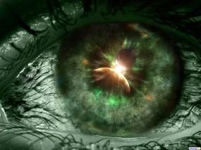 Обои Зеленый глаз: Глаз, Зелёный, Абстракции