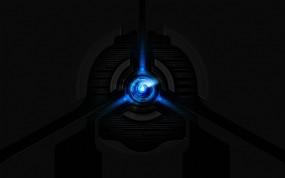 Обои Liquid blue: Голубой, Blue, Чёрный фон, Пуск, Start, Рендеринг