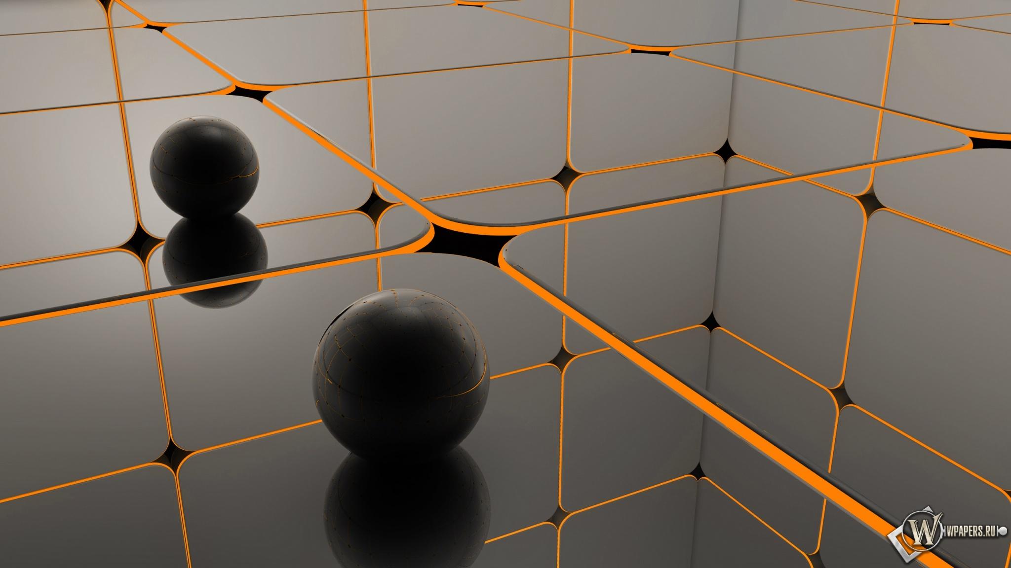 черные шары 2048x1152