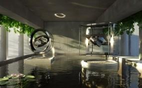 Обои Футуристичная комната: Комната, Вода, Бассейн, Рендеринг