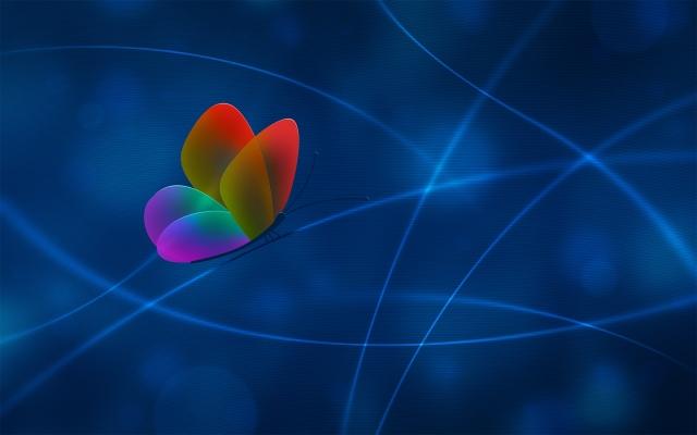 Разноцветная бабочка на синем фоне