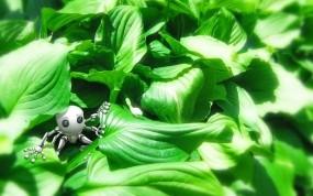 Обои Робот в зелени: Зелень, Игрушка, Трава, Робот, Рендеринг