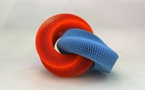 Обои Красно-синяя сетка: Сетка, Круги, Рендеринг