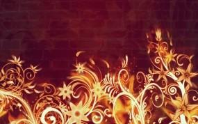 Обои Огненный цветы: Огонь, Пламя, Цветы, Рендеринг