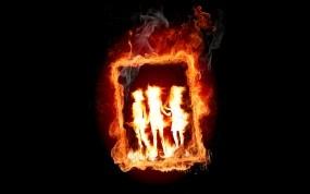 Обои Горящая картина: Огонь, Пламя, Картина, Рендеринг