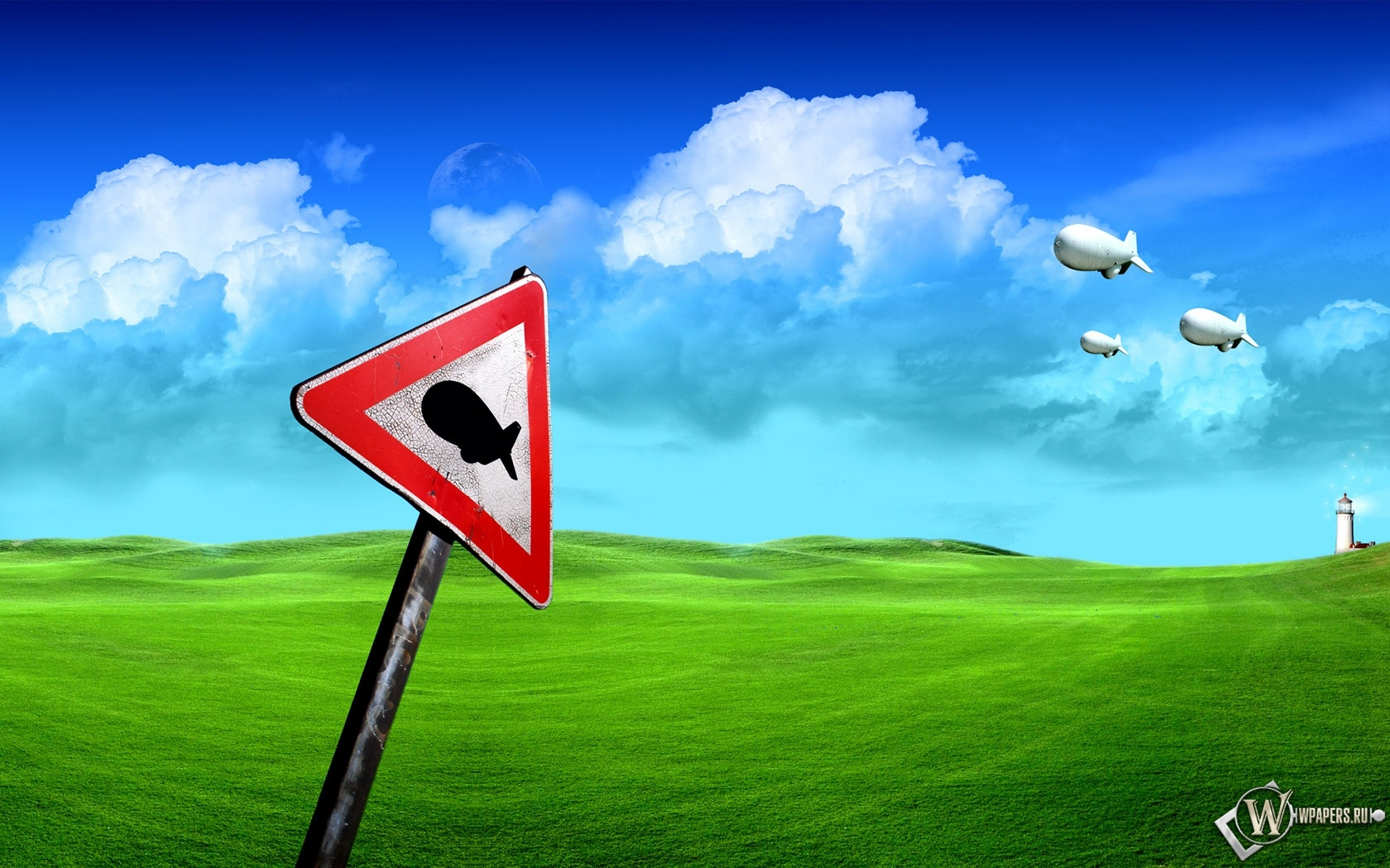Дорожный знак Дирижабли летят 1680x1050