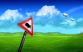 Обои Дорожный знак Дирижабли летят: Знак, Трава, Небо, Дирижабль, Рендеринг