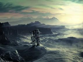 Обои Робот на горе: Горы, Свет, Робот, Рендеринг