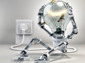 Обои Робот-лампочка: Рендеринг, Робот, Бабочка, Рендеринг