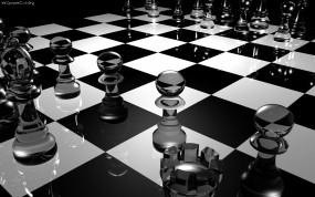 Обои Шахматная доска: Стекло, Шахматы, Рендеринг, Доска, Рендеринг