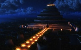 Обои Пирамида ночью: Ночь, Храм, Пирамида, Рендеринг