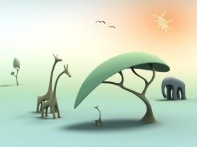 Обои Природа Африки: Солнце, Дерево, Слон, Жираф, Рендеринг