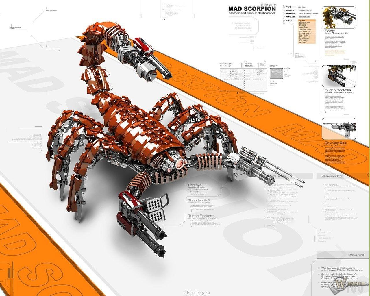 3D скорпион 1280x1024