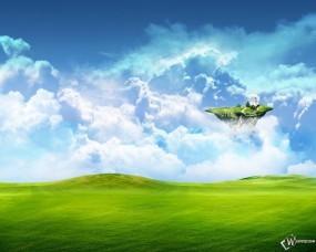 Обои Небесный остров: Луга, Остров, Поле, Трава, Рендеринг