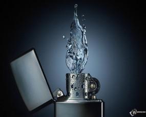 Обои Вода из зажигалки: Вода, Пламя, Zippo, Зиппо, Рендеринг