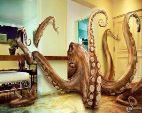 Обои 3D осьминог в квартире: Осьминог, Квартира, 3D, Рендеринг