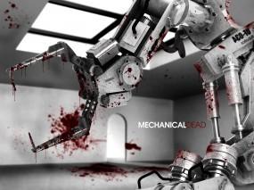 Обои Робот убийца: Кровь, Робот, Дверь, Рендеринг