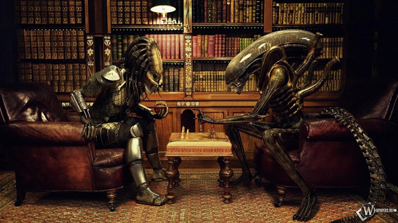 Обои для рабочего стола из чужой против хищника