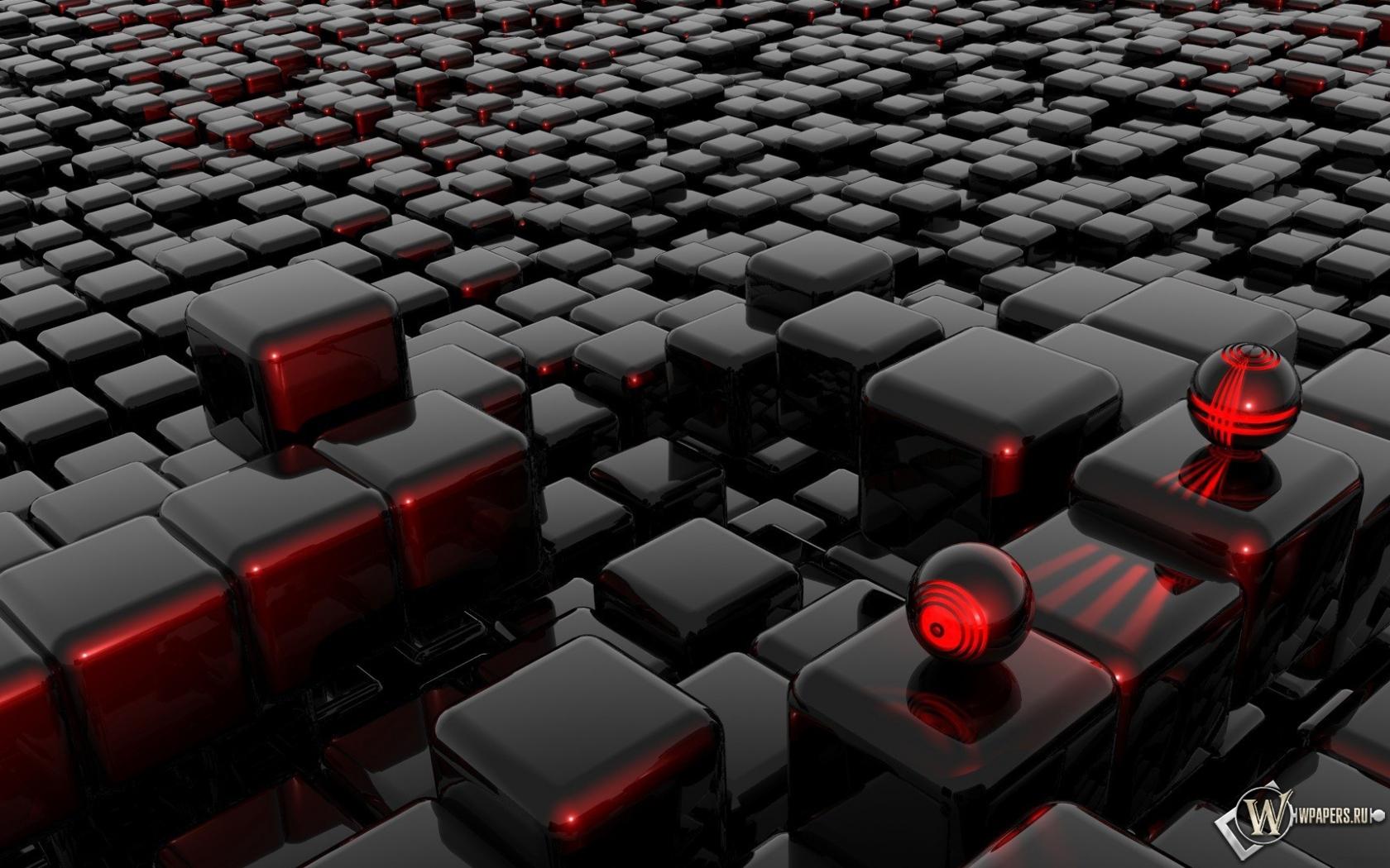 Стеклянные шарики на кубиках 3D 1680x1050