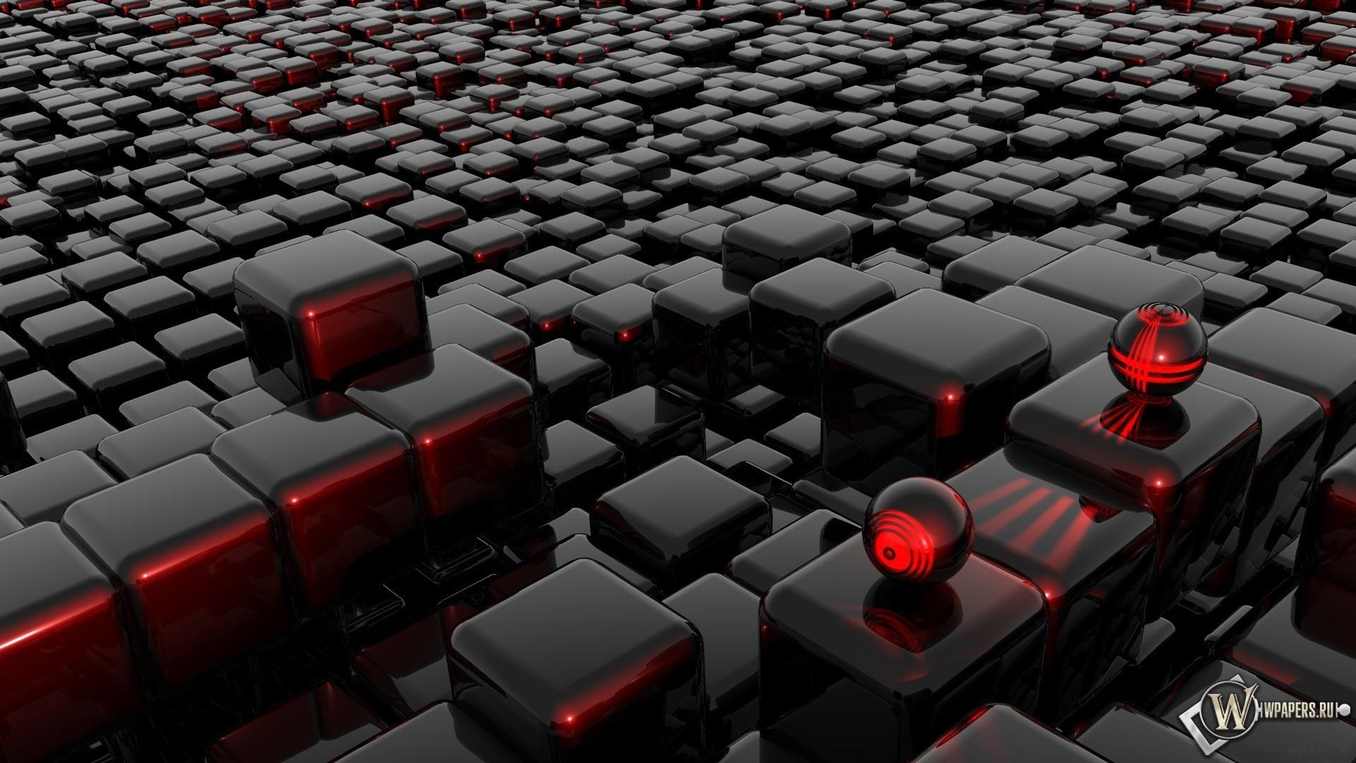 Стеклянные шарики на кубиках 3D 1920x1080