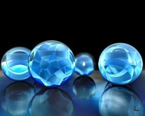 Обои Объемные шары: Отражение, 3D, Объем, Шары, Голубой, Рендеринг
