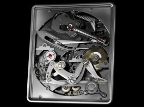 Обои Механизм: Девушка, Механизм, Гитара, Часы, Элементы, Рендеринг