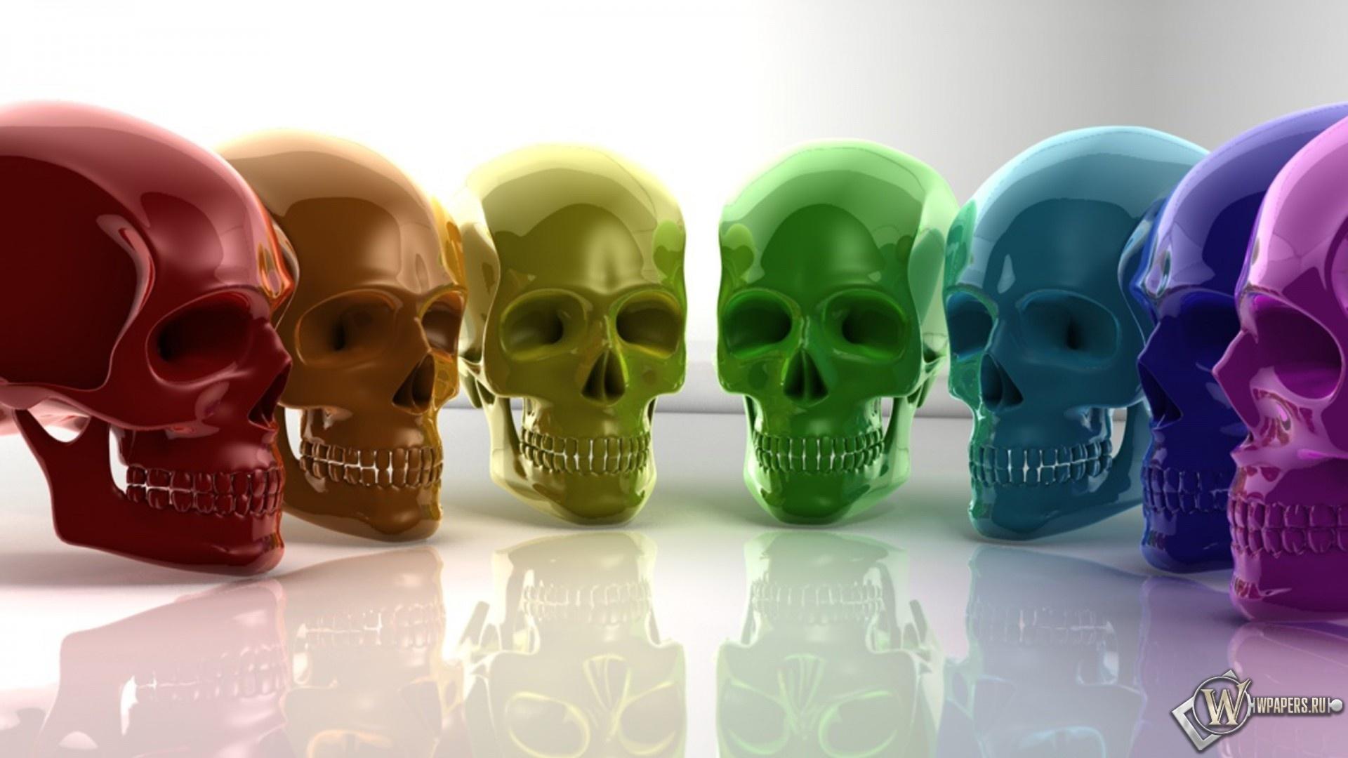 Радужные черепа 1920x1080