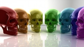 Обои Радужные черепа: Стекло, Черепа, Рендеринг